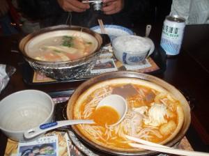 山岳民族のスープ麺 とんこつみたいでうまい。